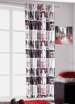 140 x 245 Mm-blanc/rouge/noir/gris rideau voilage grande london ...