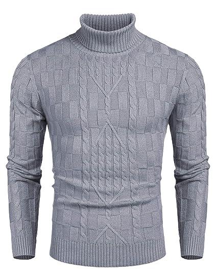 COOFANDY Pullover Herren Rollkragen Feinstrick Regular Fit Langarm Strickpullover Winter Warme Sweater Pulli