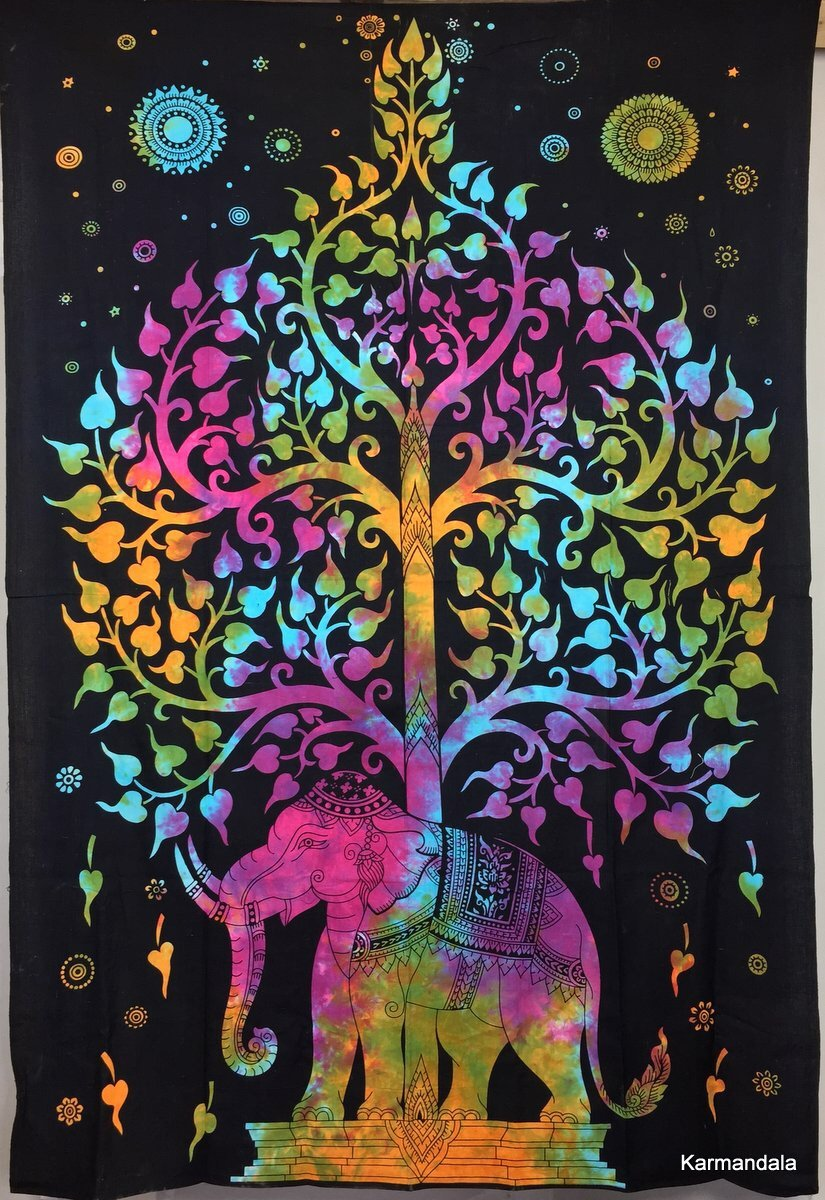 ganesham Handi Crafts–India hechas a mano Hippie boho böhmischen gemas Decoración decorativa wohnkultur Littens Toalla de playa doble tapiz playa manta india Beds heet playa lanzamiento playa tapiz árbol de la Vida Elefantes tapisserien–Esterilla de yo