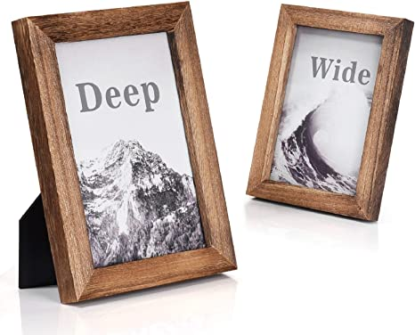 Amazon Com Emfogo Picture Frames 5x7 Solid Wood Photo Frames And High Definition Glass Display Pictures For Table Top Display And Wall Mount Wood Home Kitchen