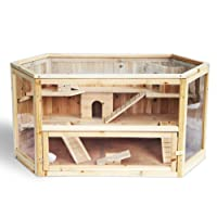 Hamsterkäfig Nagerstall Massivholz Kleintierkäfig mit Glas 3/4 Stocke e105