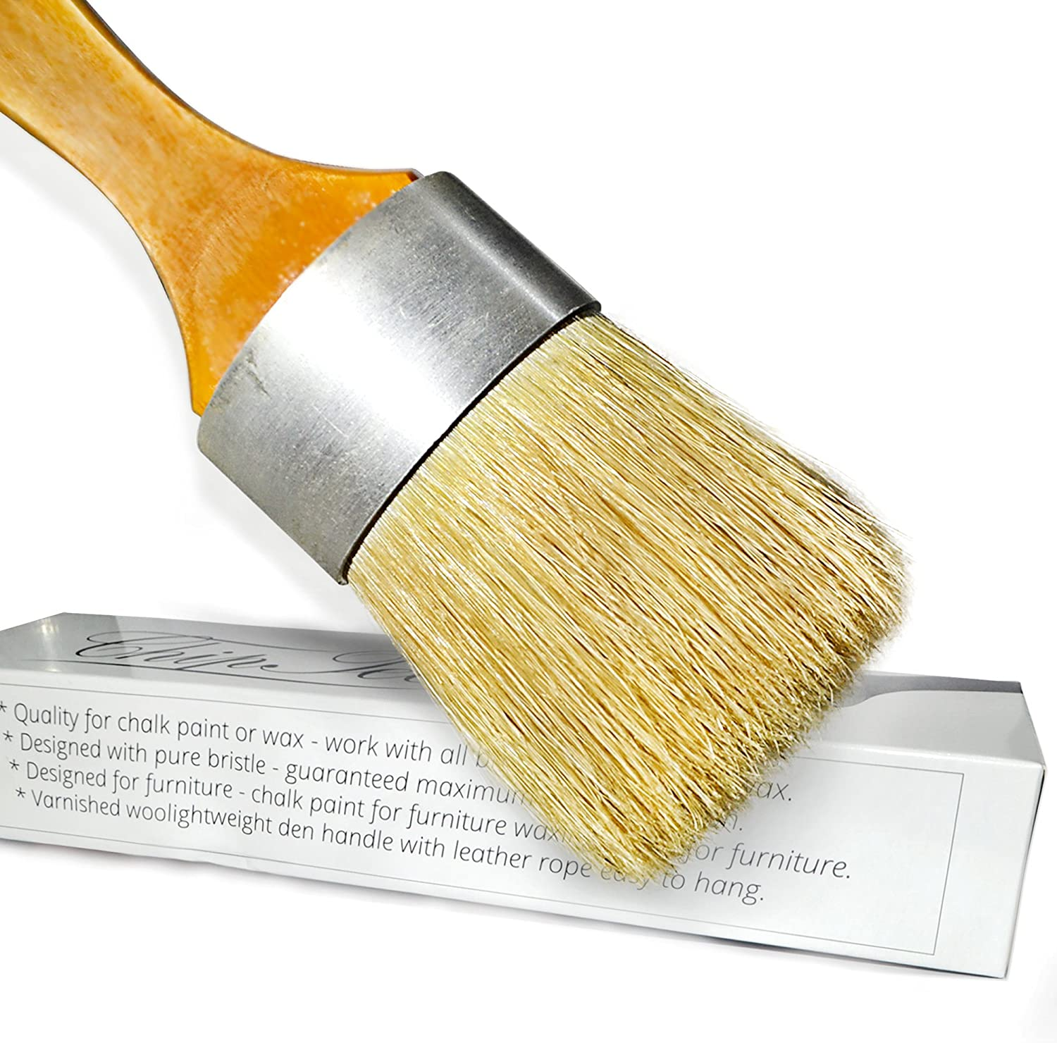 ChipTee Chalk Paint Wax Brush - Natural Bristle Brush - Good for Painting Furniture - Strong and Flexible Oval Brush - Perfect with Annie Sloan Chalk Paint - Comes with Leather Rope for Easy Hanging