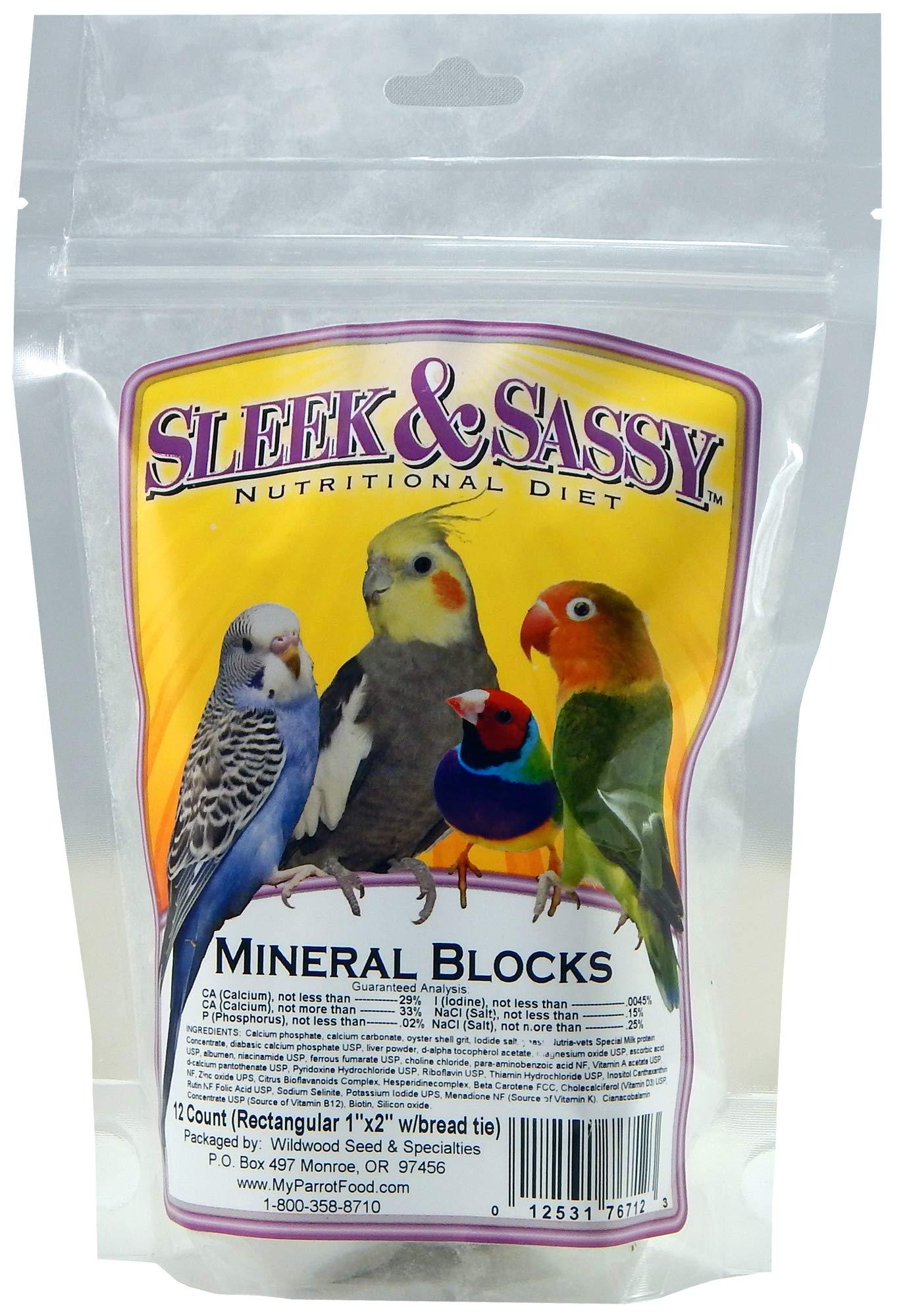 SLEEK & SASSY NUTRITIONAL DIET Mineral Blocks (1''x2'') for Birds (12 Ct.) by SLEEK & SASSY NUTRITIONAL DIET