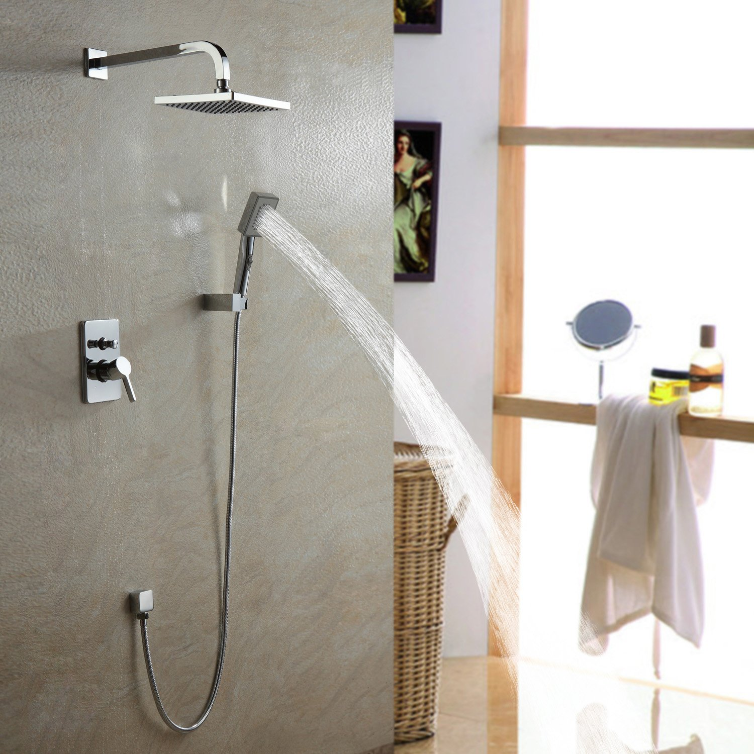 LightInTheBox Single Handle Wall Mount Shower Faucet with 10 Inch ...
