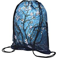 Apricot Flower Blue Drawstring Backpack Bag Sackpack Gym sack Sport Beach Daypack for Hiking Team Swimming Training Yoga Gym Outdoor Exercise