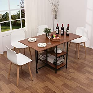 KOTPOP Folding Dining Table, Versatile Dining Room Table with 2 Storage Racks and 2 Wheels, Space Saving Extendable Kitchen Table for Kitchen/Living Room/Home Office, Brown