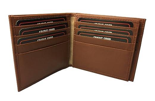 BMF cartera hombre Original bordado marrón Tall de piel auténtica plegable versión (marrón): Amazon.es: Deportes y aire libre