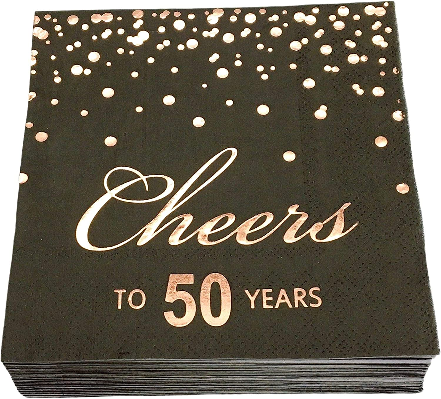 Rose Gold Foil Cocktail Napkins with Cheer 50 Years | Folded 5 x 5 Inches Disposable Party Napkins | 3-Ply Paper Beverage Napkins for 50th Birthday Decorations, Wedding Anniversary, Retirement, Black