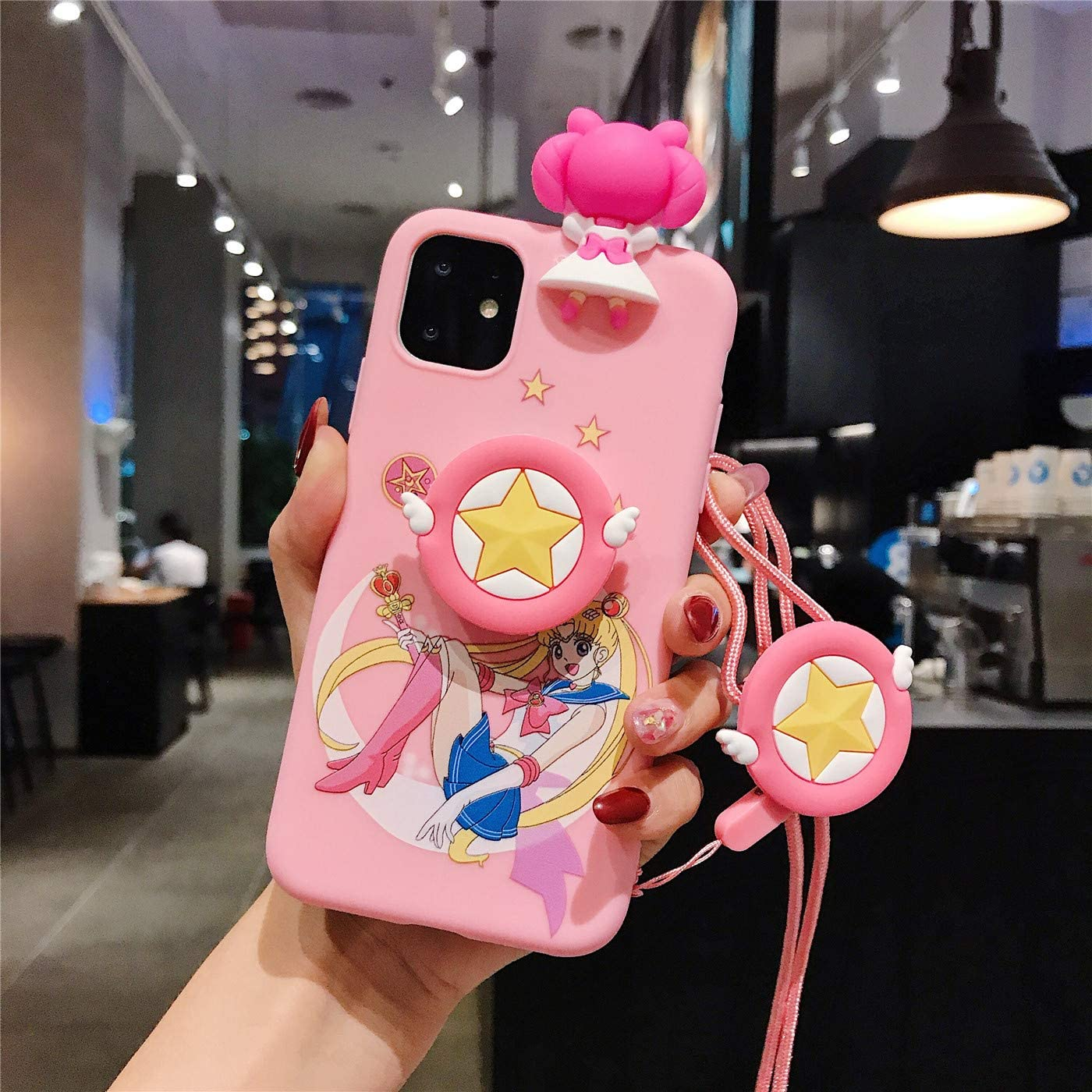 MOQINO Cartoon Lovely Sailor Moon For iPhone Case Holder Stand Strap Soft TPU Case Cover Phone Case (Style 1,For iPhone 11 Pro Max)