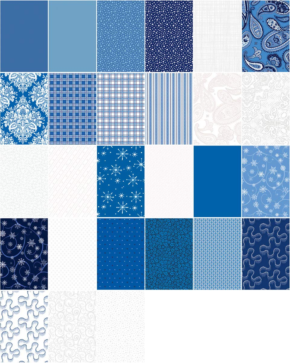 Connecting Threads Stashbuilder Precut Quilting Fabric Fat Quarter Bundle (Blue and White) by Connecting Threads (Image #2)
