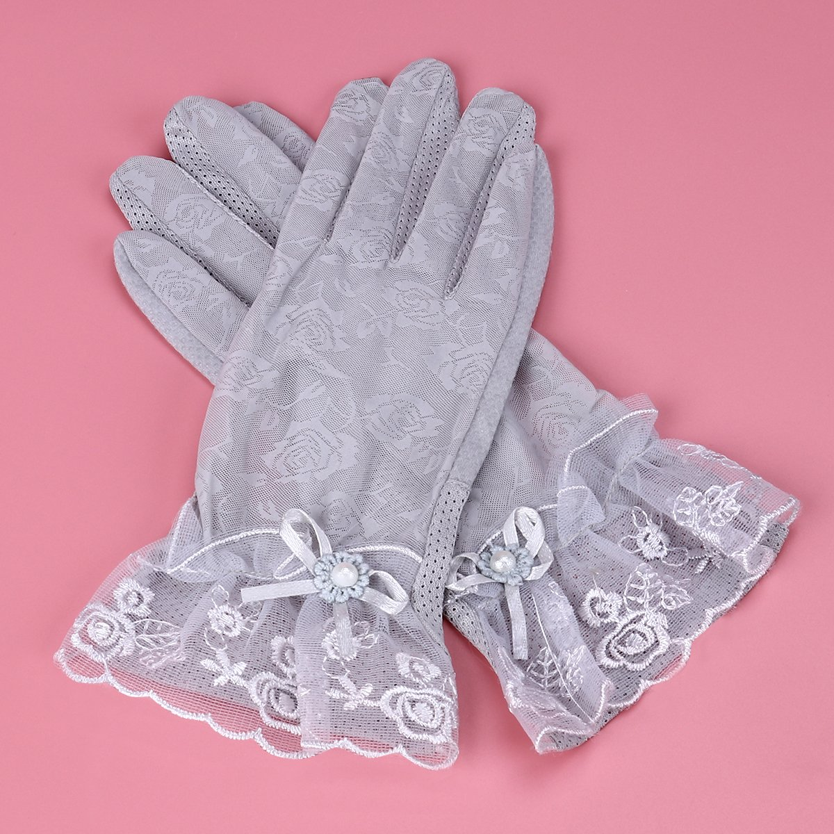 Light Grey Tinksky Women Summer Gloves UV Protective Anti Skid Gloves Short Light for Driving Gardening Outdoor Activities gift for women