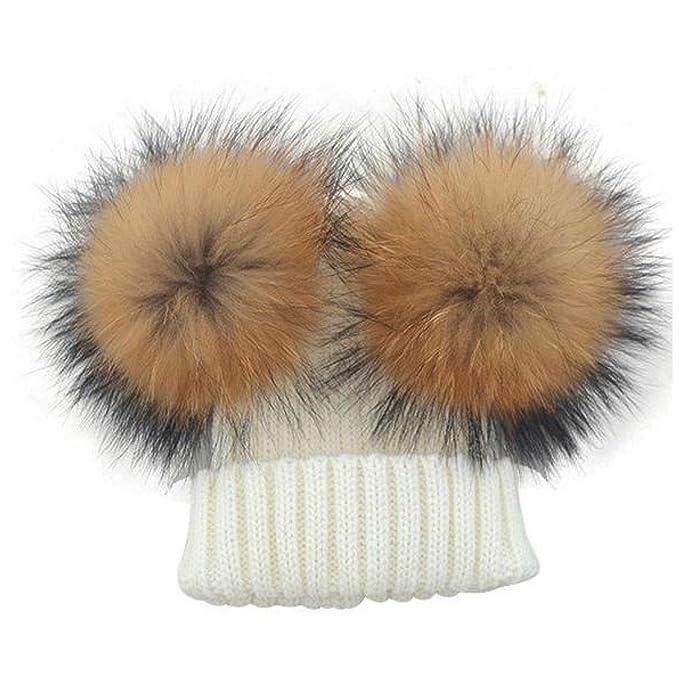 BrillaBenny Cappello 2 PON PON Bianco White Cuffia Vera Pelliccia MURMASKY  (Taglia 12 Mesi Fino a495823c219a