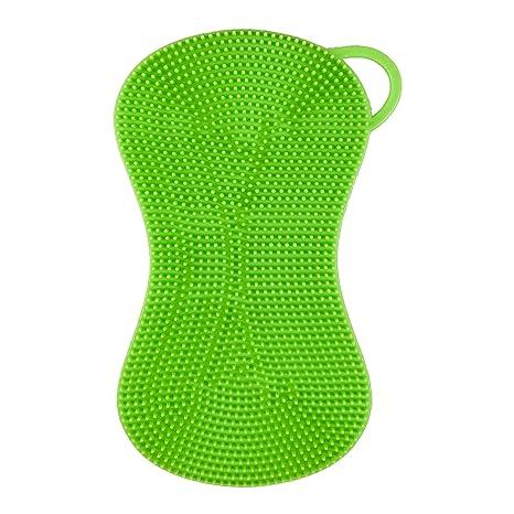Silikonschwamm Küchenschwamm Reinigungsschwamm multifunktional (Einzelpack, Grün)