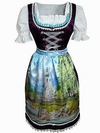 a62ccd000a9997 Di02 Exclusives, Midi Dirndl, 3 teilig, Lila Trachtenkleid mit Bluse und  wunderschöner Schürze
