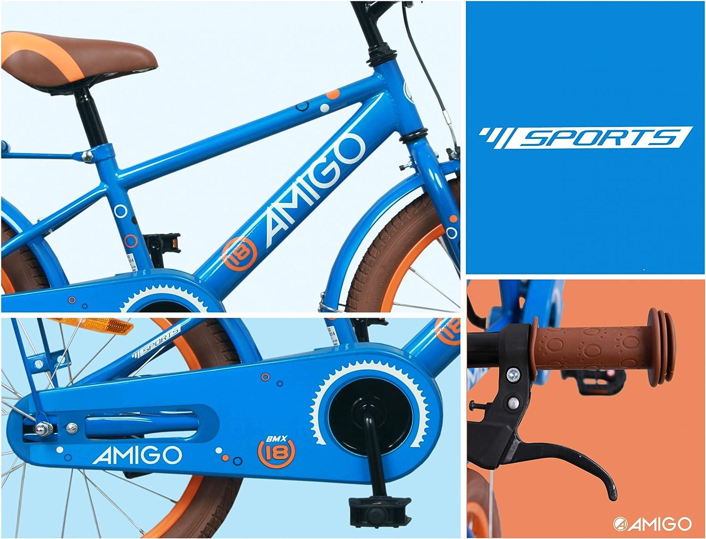 Amigo Sports ab 5 Jahre Kinderfahrrad 18 Zoll mit R/ücktritt Jungen Blau