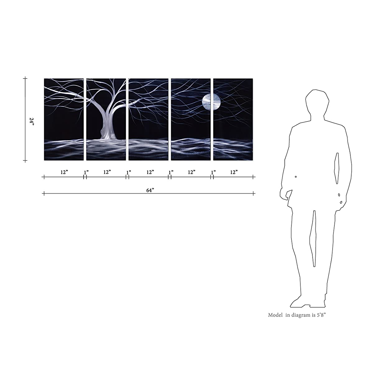 "Pure Art Moonlight Landscape Tree and Moon - Black and White Abstract Large Metal Wall Art Decor - Set of 5 Decorative Hanging Sculpture - Modern Artwork Measures 64"" x 24"""