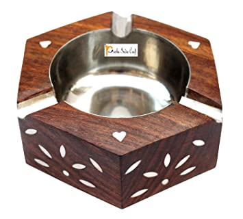 Prisha India Craft Handmade Wooden Ashtray Round for Home Office Car Gifts | Diameter 3.50 inch
