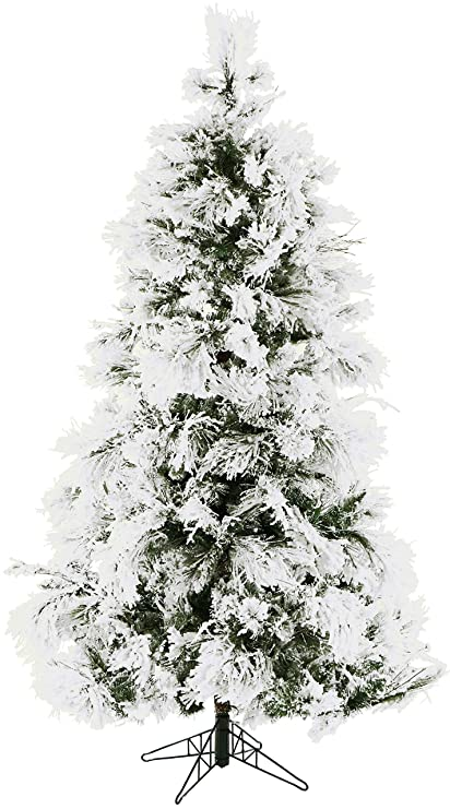 fraser hill farm 9 ft flocked snowy pine christmas tree 90