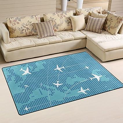 Deyya Airplanes Flying Track Area Rug Carpet Non Slip Floor Mat Doormats For Living Room Bedroom 60 X 39 Inches Garden Outdoor