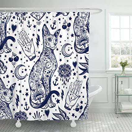 Amazon Com Emvency Shower Curtain Vintage Style Traditional Tattoo