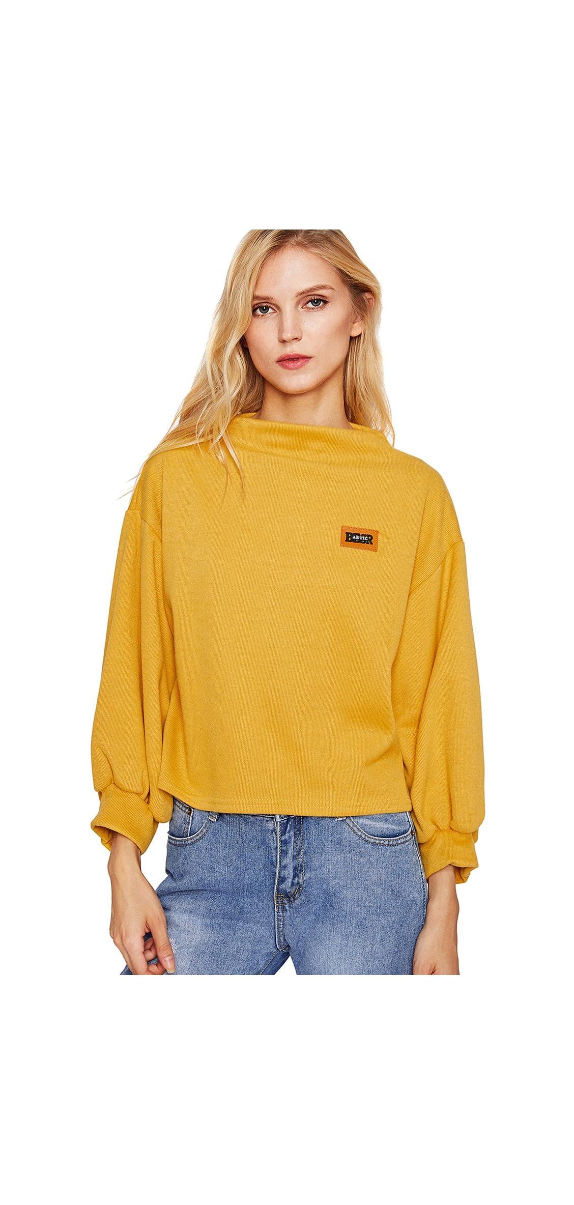 Women's Sweatshirt Long Sleeve Patch Blouse Loose One