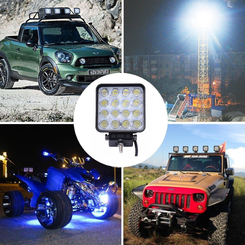 LARS360 8X 48W LED Work Light Offroad Flood Light 12-24V Square Reflector Headlight Working Headlamps Offroad Headlight Reversing Lamp For Automotive SUV UTV ATV 6000-6500K Daylight White 2800LM