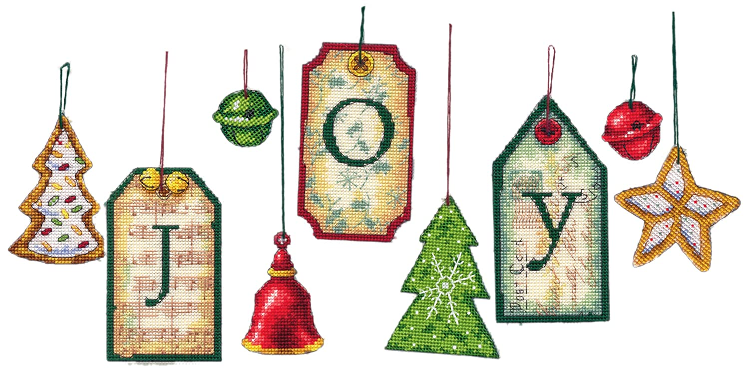 Dimensions Needlecrafts Counted Cross Stitch, Joy Tag Ornaments DiMarzio 70-08849