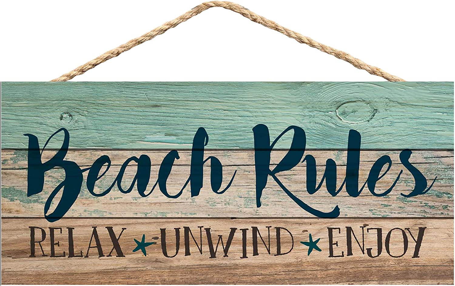 Summer Rules Classic White 10 x 4 Pine Wood Decorative Hanging String Sign