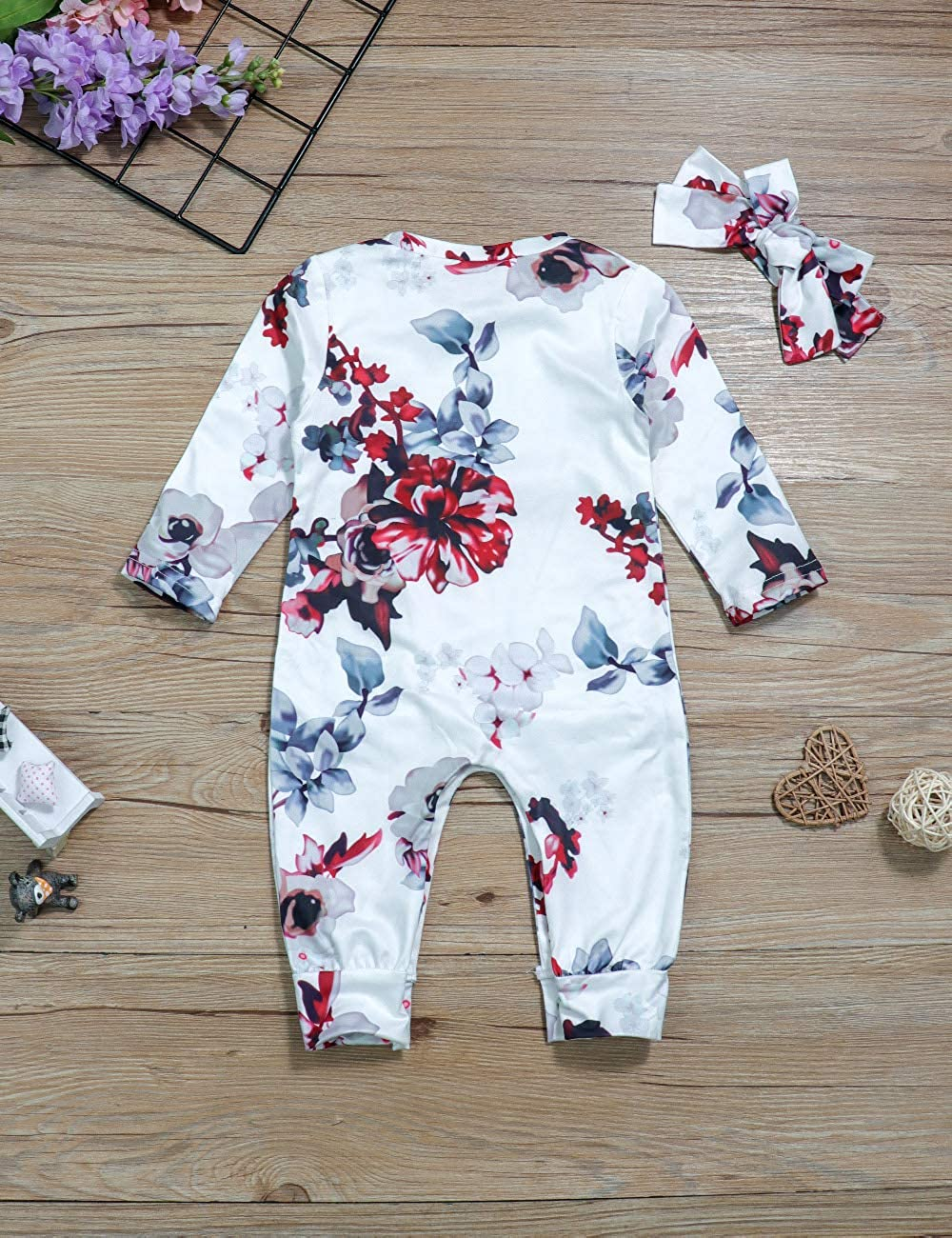 Baby Girl Clothes Floral Romper Infant Newborn Girl Jumpsuit with Headband Outfit Set