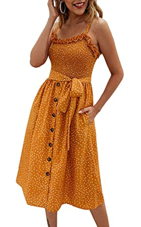ff72e365c04b1e SPec4Y Damen Kleid Swing Sommerkleid Volltonfarbe Spaghettiträger  Strandkleid A-line Partykleid 014 Gelb S