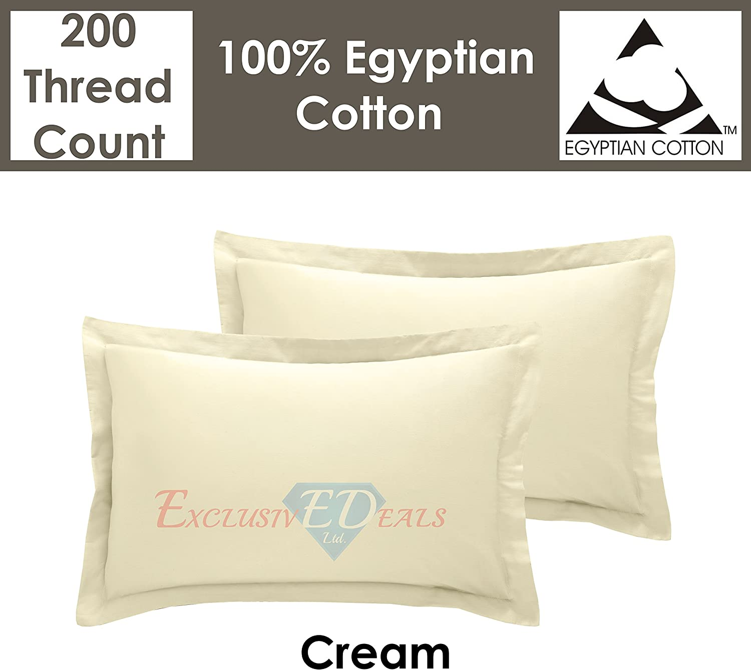 2 X Pillow Case Pair Luxury Egyptian Cotton 200TC Housewife Pillows Cover Cases