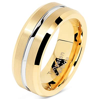 100s Jewelry Tungsten Rings For Mens Gold Wedding Bands Silver