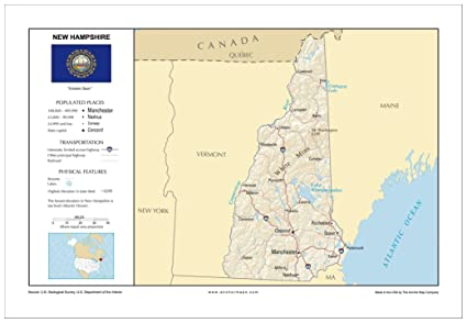 New Hampshire On Map Of Usa.Amazon Com 13x19 New Hampshire General Reference Wall Map Anchor