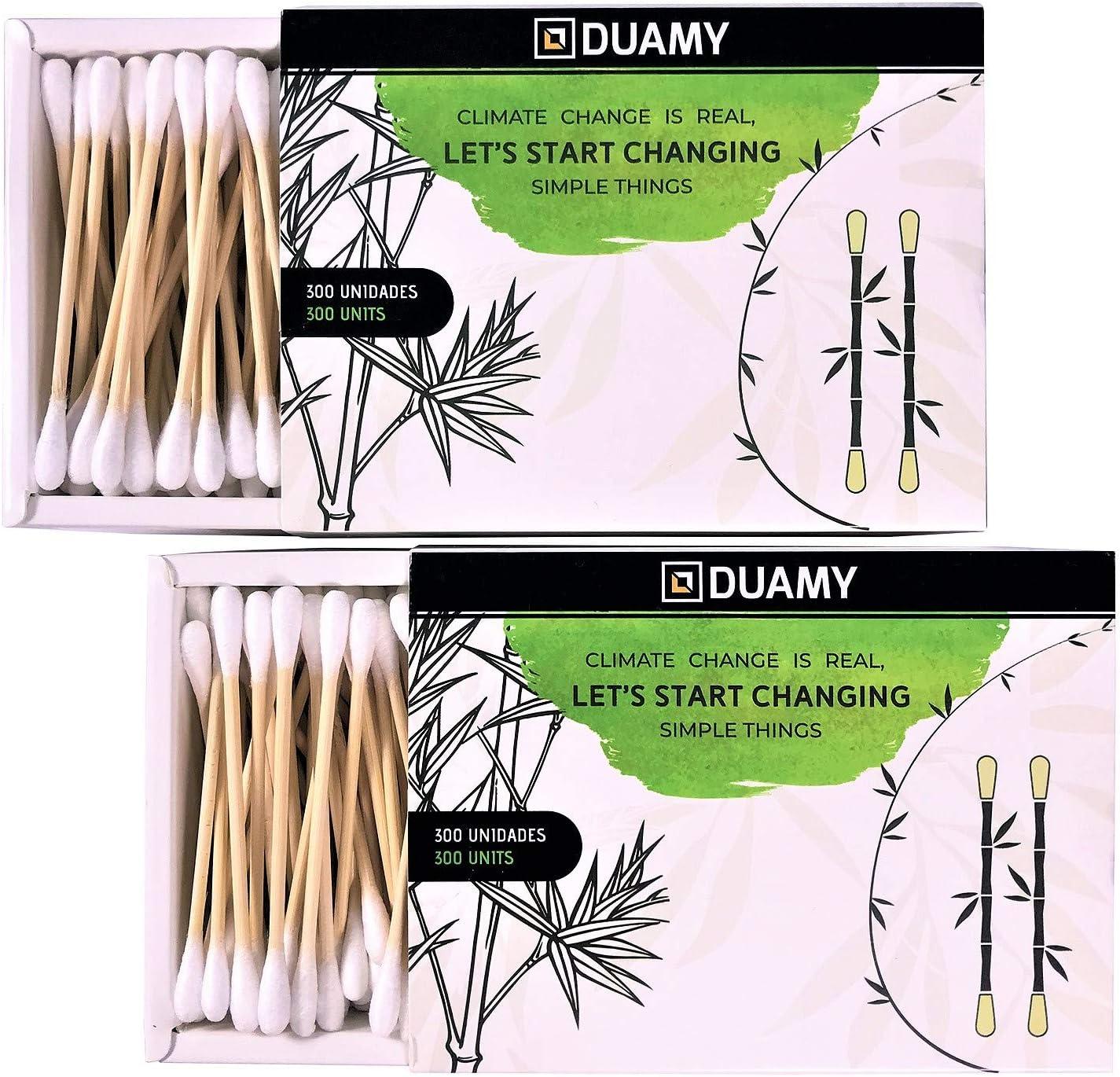 600 bastoncillos ecológicos de algodón y bambú naturales. 2 packs de 300 hisopos en cajas de cartón. Bastoncillos de bambú biodegradable y orgánico. Sin BPA y veganos. Palillos limpiadores de oídos.
