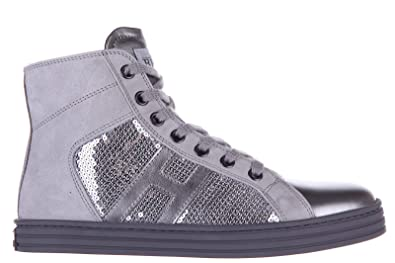 6d084a6909e09 Hogan Rebel Girls Shoes Child Leather high top Sneakers r141 Paillettes  Silver