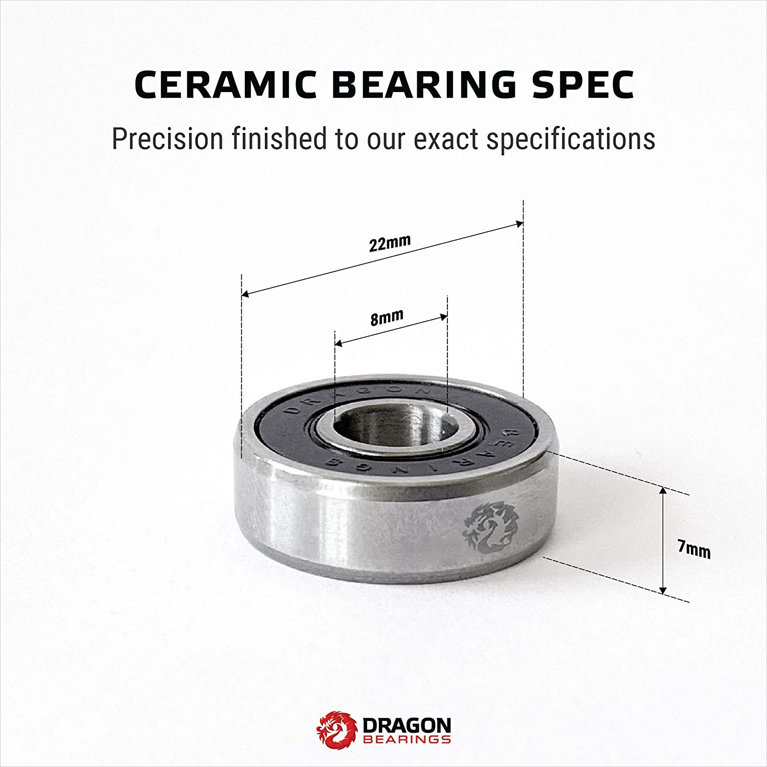 Fireball Dragon Ceramic Precision Skateboard Bearings with Silver Dragon Precision Aluminum Spacers Speed Rings Set