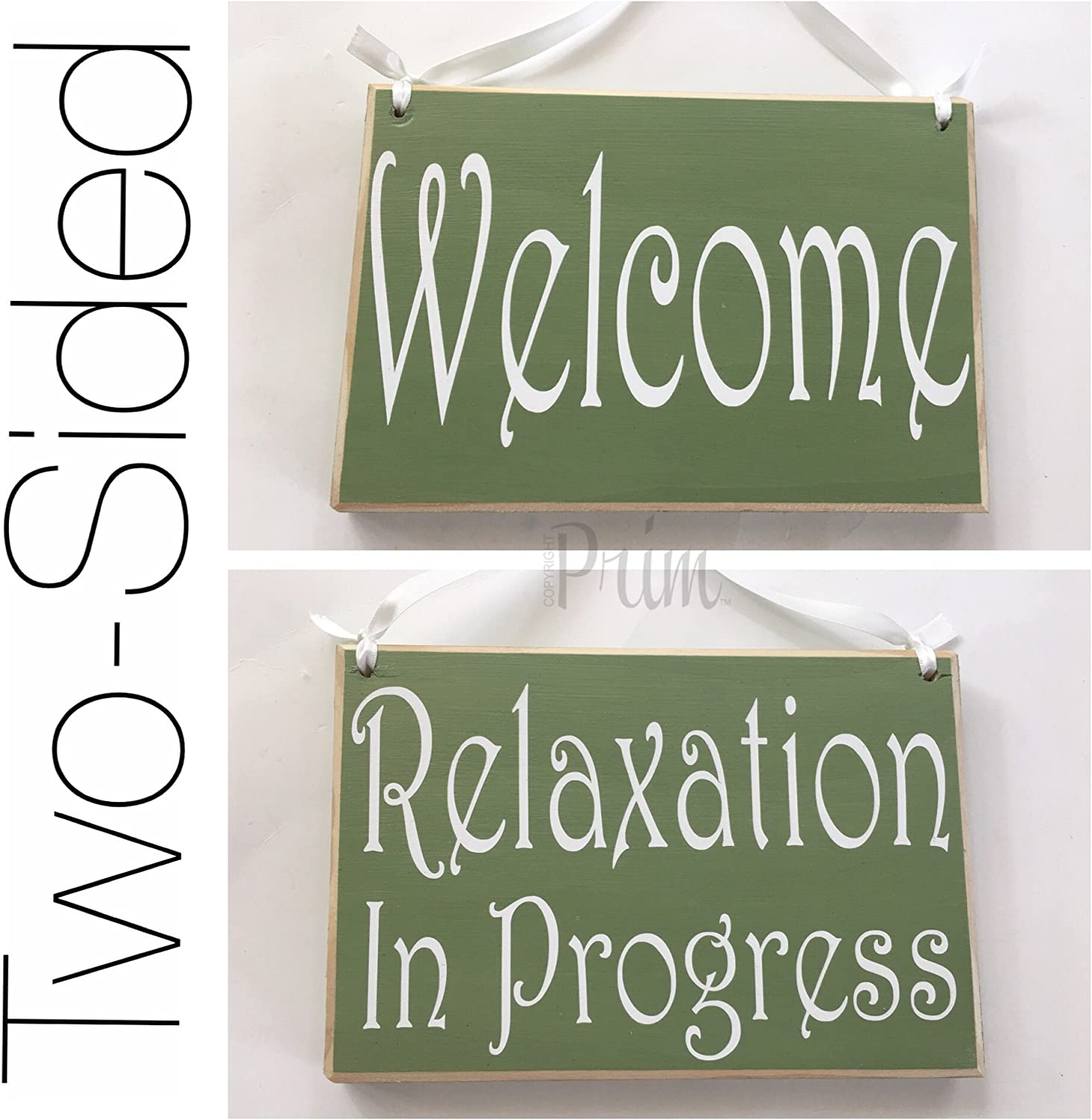 8x6 Relaxation in Progress Welcome Session Do Not Disturb Spa Salon Two Sided Custom Wood Sign Welcome Home Office Door Hanger Plaque