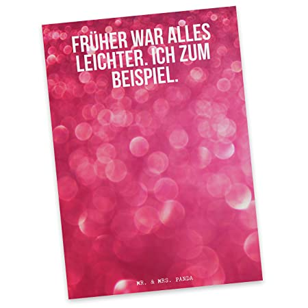 Post Card With German Text Früher War Alles Mr Mrs Panda
