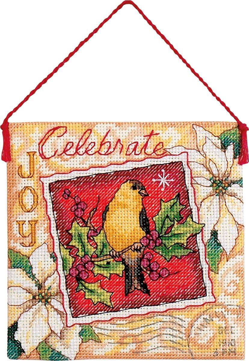 MINI BANNERS Lot of 2 Counted Cross Stitch Kits CARDINAL JOY ~ CELEBRATE