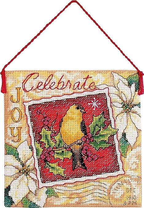 Counted Cross Stitch Kit CELEBRATE MINI BANNER Ornament