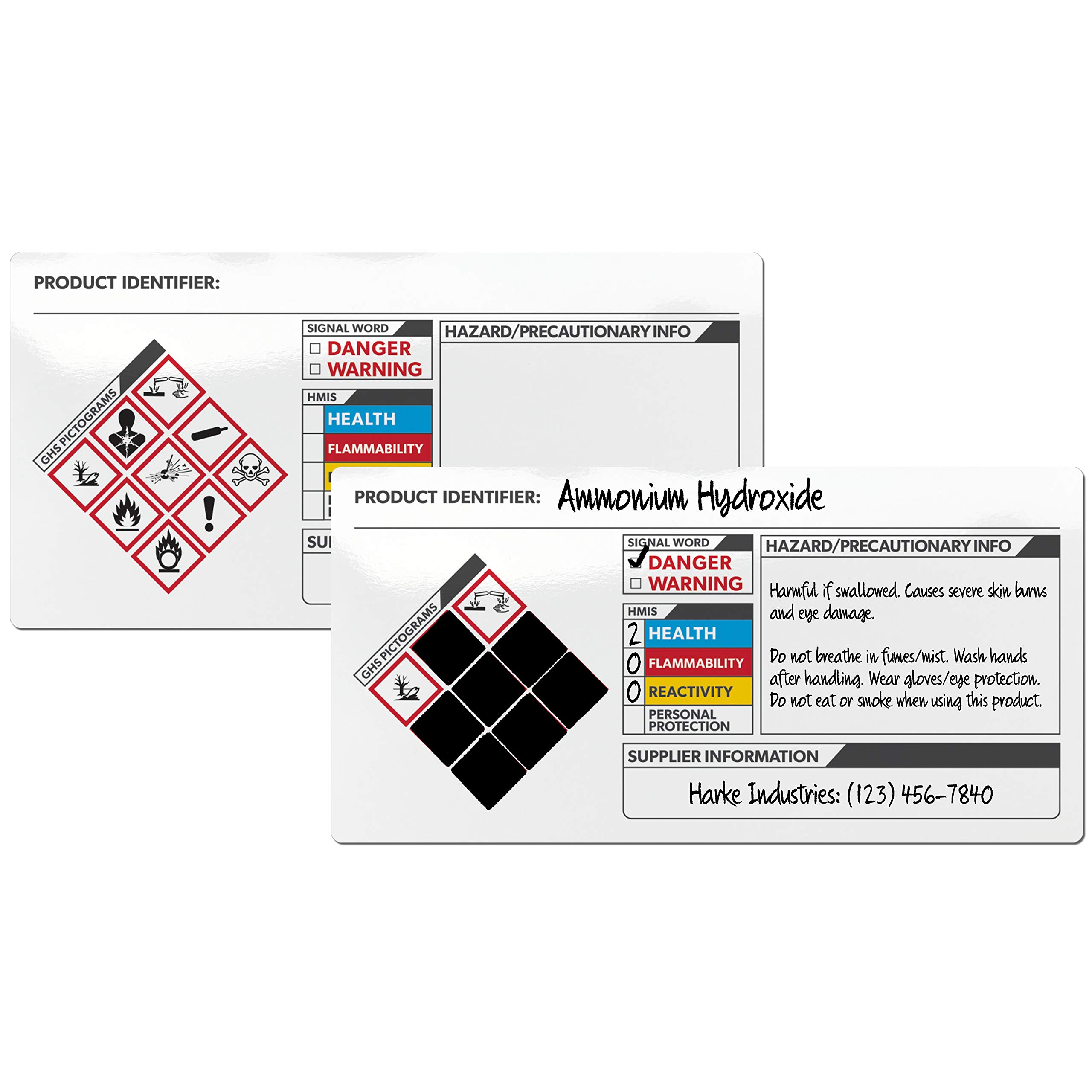 Avery GHS Secondary Container Labels, Preprinted, Handwrite Only, 2'' x 4'', 250 Labels (61208)