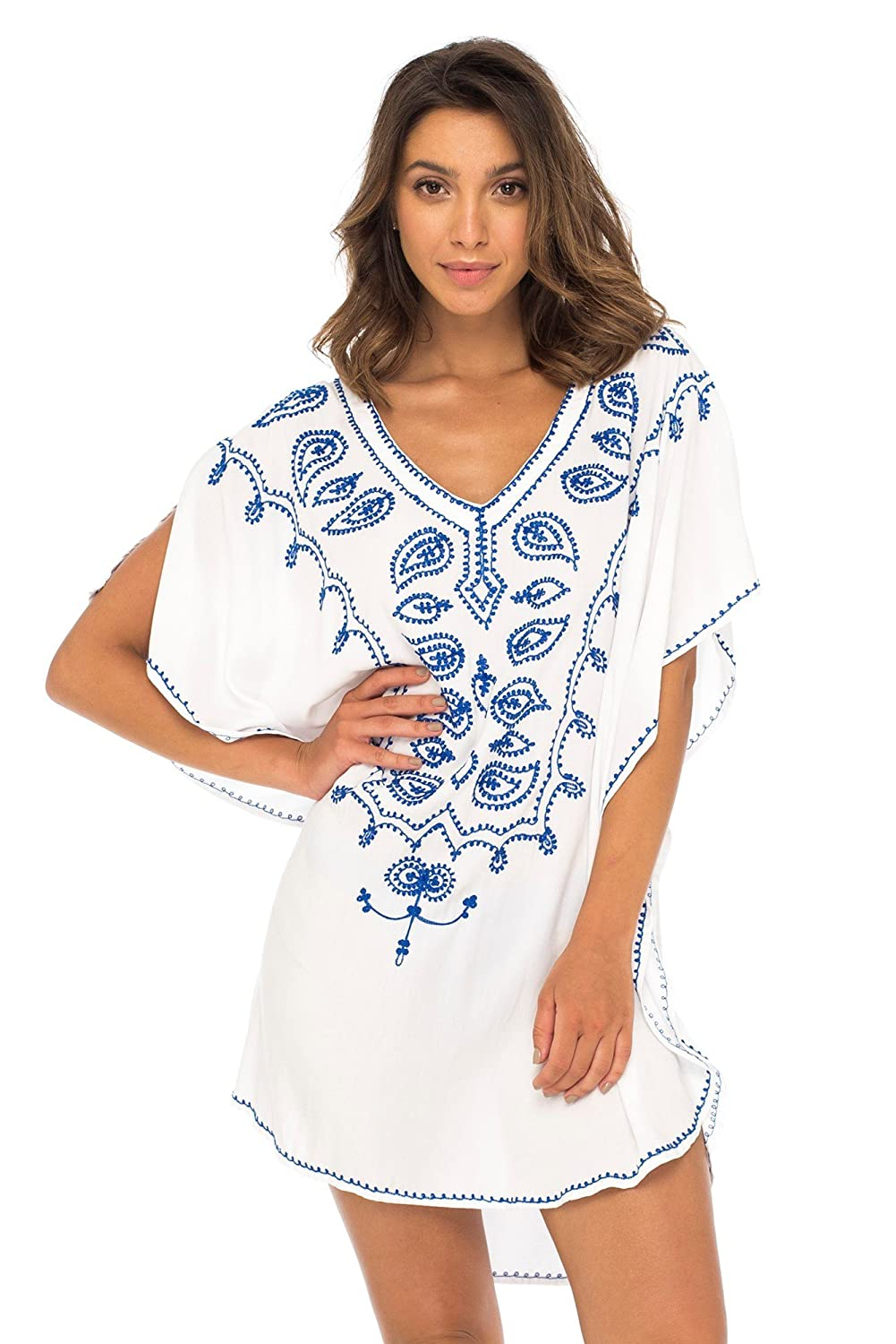 23f75d1876c94 Back From Bali Womens Swimsuit Cover up Bathing Suit Bikini Swimwear Cover  Embroidered Boho Beach Tunic White at Amazon Women's Clothing store: