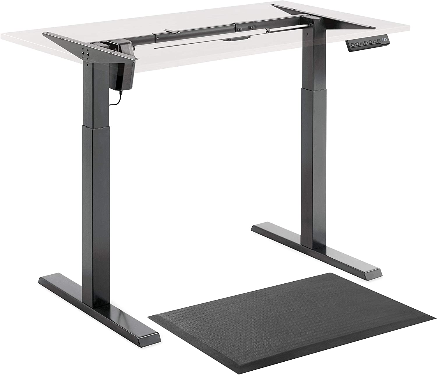 Electric Stand Up Desk Frame Single Motor Standing Desk Base Height Adjustable Table DIY Sit Stand Desk with Antifatigue Mat Electronic Memory Controller Steel Legs for Computer Office Workstation