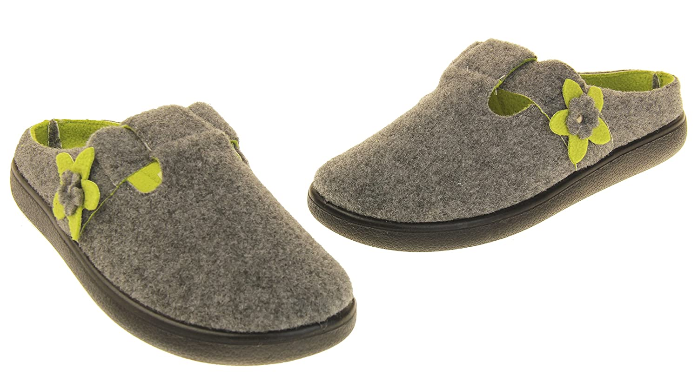M Coolers Womens Grey T-bar /& Green Flower Felt Mules Slippers 10 B US