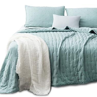 KASENTEX Quilt-Coverlet-Bedspread-Blanket-Set+Two Shams, Ultra Soft, Machine Washable, Lightweight, All Season Comforter Set, Nostalgic Design - Hypoallergenic - Solid Color - Queen Size Set