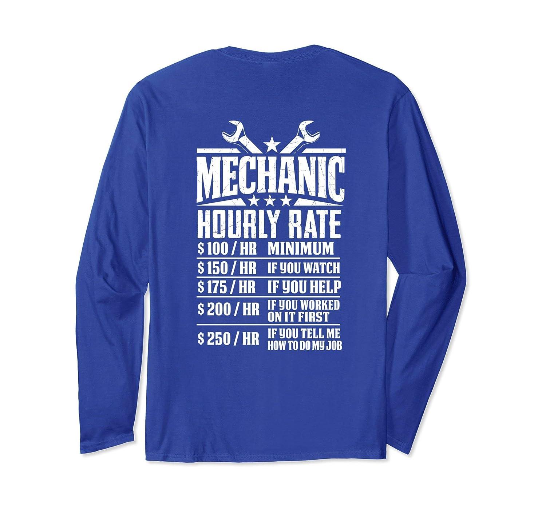 Amazon Funny Mechanic Hourly Rate Graphic Design Long Sleeve
