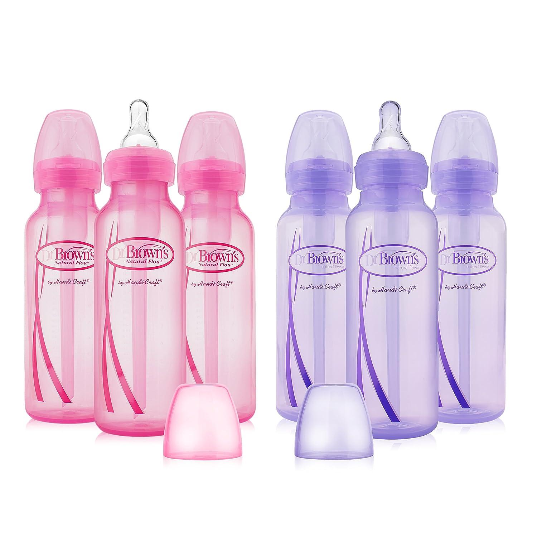 Dr. Brown's Girls' 6 pack 8 oz. bottles - 3 (8 oz.) Lavender - 3 (8 oz.) Pink Dr. Brown's SB86003