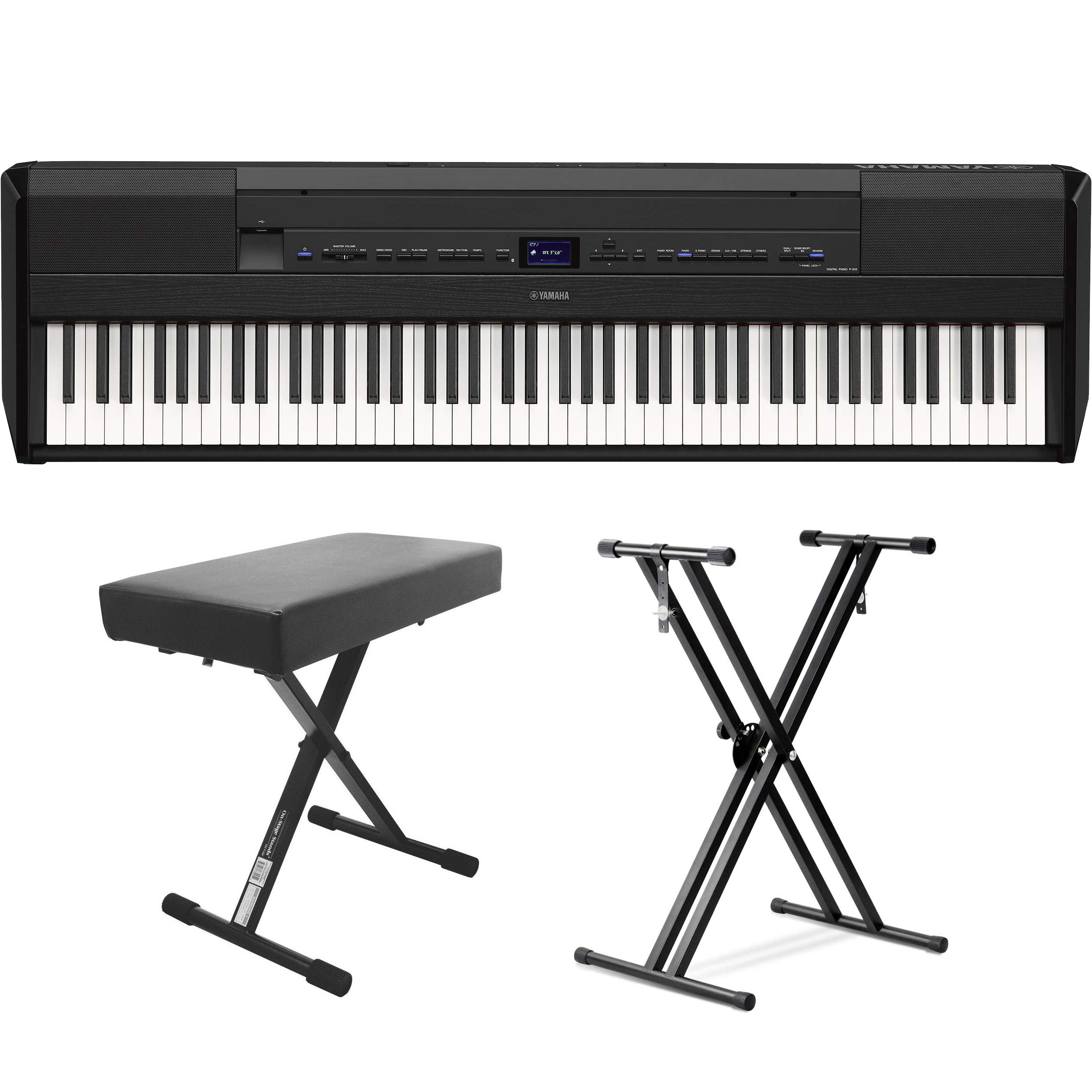 Yamaha P-515 88-Key Portable Digital Piano (with double braced stand and bench) by YamahaBundle