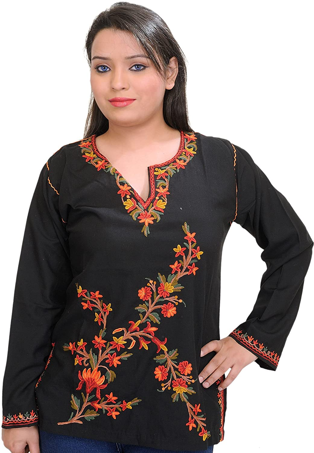 Exotic India Black Short Kashmiri Kurti with Embroidered Flowers by Hand