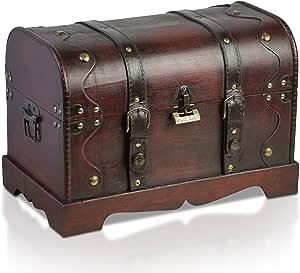Brynnberg - Caja de Madera Cofre del Tesoro Pirata de Estilo Vintage, Hecha a Mano, Diseño Retro 40x23x27cm